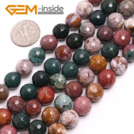"G15033 10mm Natural Round Facetd Ocean Jasper Beads Jewellery Making Loose Beads15"" Gbeads Natural Stone Beads for Jewelry Making Wholesale"