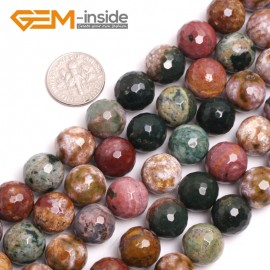 "G15034 12mm Natural Round Facetd Ocean Jasper Beads Jewellery Making Loose Beads15"" Gbeads Natural Stone Beads for Jewelry Making Wholesale"