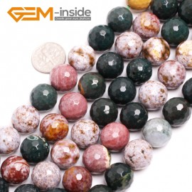 "G15035 14mm Natural Round Facetd Ocean Jasper Beads Jewellery Making Loose Beads15"" Gbeads Natural Stone Beads for Jewelry Making Wholesale"