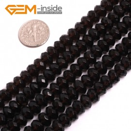 "G15047 5x8mm Natural Rondelle Faceted Smoky Quartz Jewelry Making Gemstone Loose Beads 15"" Natural Stone Beads for Jewelry Making Wholesale"