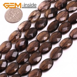 "G15050 10x14mm (Faceted) Oval Drop Gemstone Smooth Faceted Smoky Quartz Jewelry Making Loose Beads 15"" Natural Stone Beads for Jewelry Making Wholesale"