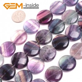 "G15069 20mm Natural Coin Fluorite Gemstone Beads Jewelry Making Loose Stone Beads15"" GBeads Natural Stone Beads for Jewelry Making Wholesale`"
