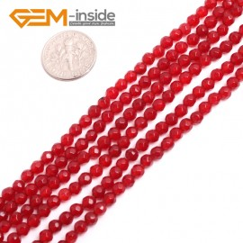 "G15082 4mm G-Beads Round Faceted Red Jade Beads Strand 15"" Jewelry Making Beads 4-18MM Natural Stone Beads for Jewelry Making Wholesale"