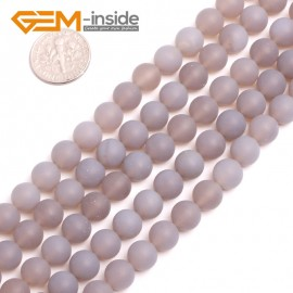 "G15136 8mm Natural Round Matte Frost Gray Agate Gemstone Jewelry Making  Loose Beads 15"" Natural Stone Beads for Jewelry Making Wholesale"