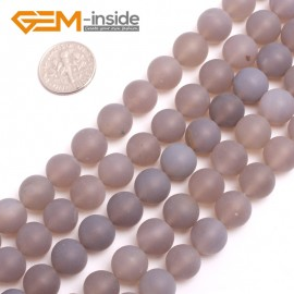 "G15137 10mm Natural Round Matte Frost Gray Agate Gemstone Jewelry Making  Loose Beads 15"" Natural Stone Beads for Jewelry Making Wholesale"