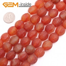 "G15150 14mm Lantern Red Frost Antique Old Agate Jewelry Making Gemstone Beads 15"" Free Ship Natural Stone Beads for Jewelry Making Wholesale`"