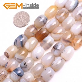 "G15153 10x14mm(Drum) Olivary Natural Gray Leaf Ocean Agate Beads Jewelry Making Gemstone Beads 15"" Natural Stone Beads for Jewelry Making Wholesale`"