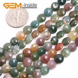 "G15161 6mm Natural Coin Indian Agate Loose Beads Strand 15"" Jewelry Making Gemstone Beads Natural Stone Beads for Jewelry Making Wholesale"