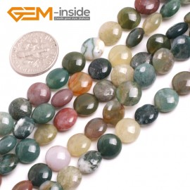 "G15162 8mm Natural Coin Indian Agate Loose Beads Strand 15"" Jewelry Making Gemstone Beads Natural Stone Beads for Jewelry Making Wholesale"