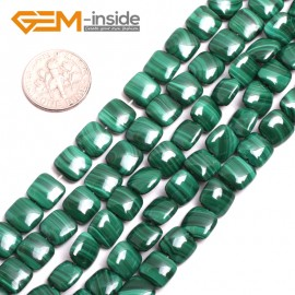 "G15169 8mm Square Gemstone Grade A Malachite DIY Jewelry Making Loose Beads 15"" Selectable Shape Natural Stone Beads for Jewelry Making Wholesale`"