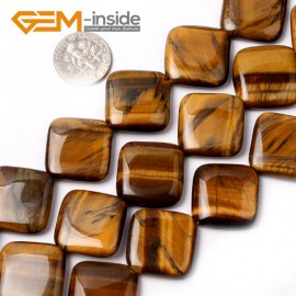 G1516 20mm (Diagonal) Gemstone Yellow Tiger Eye Jewelry Making Beads Strand 15 Gbeads Natural Stone Beads for Jewelry Making Wholesale