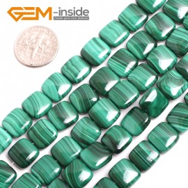 "G15170 10mm Square Gemstone Grade A Malachite DIY Jewelry Making Loose Beads 15"" Selectable Shape Natural Stone Beads for Jewelry Making Wholesale`"