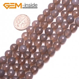"""G15175 8mm Round Faceted Natural Gray Agate Gemstone Loose Beads Strands 15"""" 10-14mm Pick Natural Stone Beads for Jewelry Making Wholesale"""