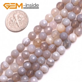"G15176 6mm Natural Round Faceted Gray Banded Agate Jewelry Making Gemstone Loose Beads15"" Natural Stone Beads for Jewelry Making Wholesale"