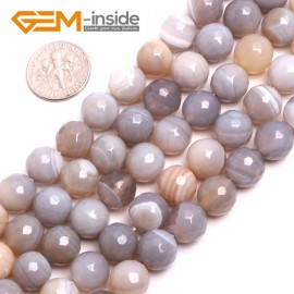 "G15178 10mm Natural Round Faceted Gray Banded Agate Jewelry Making Gemstone Loose Beads15"" Natural Stone Beads for Jewelry Making Wholesale"