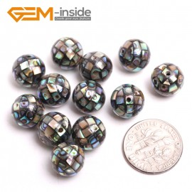 G15180 10mm Ball (12 Pcs) Abalone Shell Gemstone DIY Jewelry Jewellery Making Loose Beads 2&6 Pcs Gbeads Natural Stone Beads for Jewelry Making Wholesale`