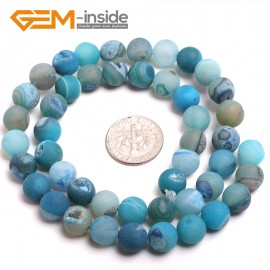 """G15183 8mm Blue Natural Round Gemstone Geode Agate DIY Crafts Jewelry Making Loose Beads15"""" Natural Stone Beads for Jewelry Making Wholesale"""