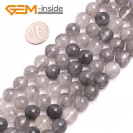 "G15186 10mm Round Smooth Cloudy Rock Quartz Jewelry Making Gemstone Loose Beads 15"" GBeads Natural Stone Beads for Jewelry Making Wholesale`"
