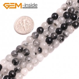 G15187 6mm Round Gemstone Black Rutilated Quartz Beads Jewelry Making Loose Beads Strand 15 Natural Stone Beads for Jewelry Making Wholesale