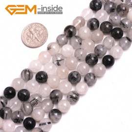 G15188 8mm Round Gemstone Black Rutilated Quartz Beads Jewelry Making Loose Beads Strand 15 Natural Stone Beads for Jewelry Making Wholesale