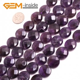 """G15206 16mm (Faceted ) Coin Gemstone Amethyst Gemstone Jewelry Making Loose Beads 15"""" Natural Stone Beads for Jewelry Making Wholesale"""