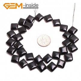 "G15225 10mm Diagonal Square Black Agate Beads Strands 15"" Jewelery Making Gemstone Onyx Loose Beads Natural Stone Beads for Jewelry Making Wholesale"