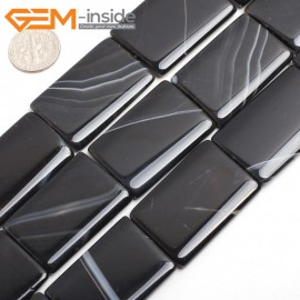"G15237 25x35mm Rectangle Sardonyx Black Agate Loose Beads Gemstone Strand 15 "" Natural Stone Beads for Jewelry Making Wholesale"