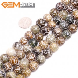 """G15257 12mm Round Carved Mixed Color Nephrite Hua Show Jade Loose Beads Gemstone Strand 15"""" Natural Stone Beads for Jewelry Making Wholesale"""