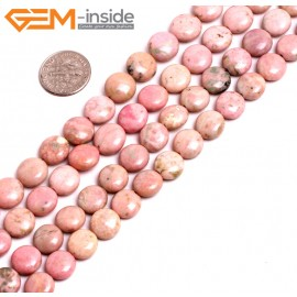 """G15260 10mm Coin Pink Natural Rhodonite Beads Gemstone Strand 15"""" Natural Stone Beads for Jewelry Making Wholesale"""