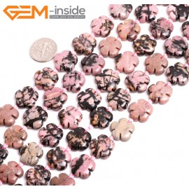 """G15261 15mm Flower Shape Pink Natural Rhodonite Loose Beads Gemstone Strand 15 """" Natural Stone Beads for Jewelry Making Wholesale"""