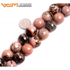 """G15262 16mm Round Pink Natural Rhodonite Stone Beads Gemstone Strand 15 """" Natural Stone Beads for Jewelry Making Wholesale"""