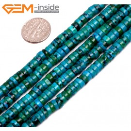 "G15267 3x6mm Dyed Green Chrysocolla Spacer Beads Strand 15 "" Beads for Jewelry Making Wholesale"