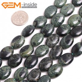 "G15270 12x16mm Oval Green Natural Kambaba Jasper Beads Gemstone Strand 15 "" Natural Stone Beads for Jewelry Making Wholesale"