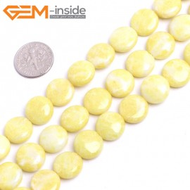 "G15277 12mm Coin Natural Lemon Green Stone Beads Loose Beads Strand 15 "" Natural Stone Beads for Jewelry Making Wholesale"