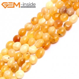 "G15279 8x10mm Natural Potato Freefrom Yellow Opal Gemstone Beads Strand 15 "" Natural Stone Beads for Jewelry Making Wholesale"