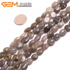 "G15281 8x12mm Potato Freefrom Natural Grey Labradorite Gemstone Loose Stone Beads Strand 15"" Natural Stone Beads for Jewelry Making Wholesale"