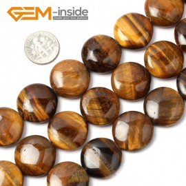 "G1529 20mm Coin Gemstone Yellow Tiger Eye Stone Beads Strand 15""DIY Jewelry Making Beads Natural Stone Beads for Jewelry Making Wholesale"