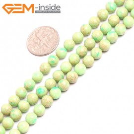 """G15306 6mm Round Light Green Sea Sediment Jasper Beads Dyed color 15"""" Beads for Jewelry Making Wholesale"""