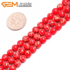 """G15307 6mm Round Red Sea Sediment Jasper Beads Dyed color 15"""" Beads for Jewelry Making Wholesale"""