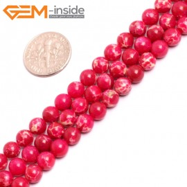 """G15308 6mm Round Magenta RED Sea Sediment Jasper Beads Dyed Color 15"""" Beads for Jewelry Making Wholesale"""