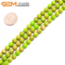 "G15310 6mm Round Yellow Green Sea Sediment Jasper Beads Dyed Color 15"" Beads for Jewelry Making Wholesale"