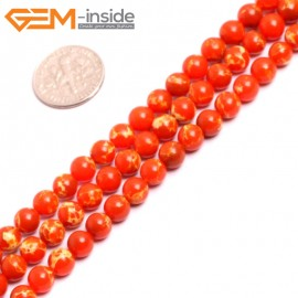 """G15311 6mm Round Orange Sea Sediment Jasper Beads Dyed Color 15"""" Beads for Jewelry Making Wholesale"""