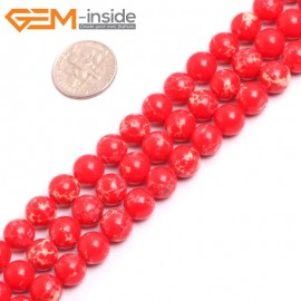 "G15315 8mm Round Red Sea Sediment Jasper Beads Dyed Color 15"" Beads for Jewelry Making Wholesale"