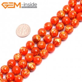 """G15327 10mm Round Orange Sea Sediment Jasper Beads Dyed Color 15"""" Beads for Jewelry Making Wholesale"""