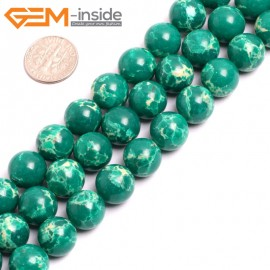 """G15338 12mm Round Dark Green Sea Sediment Jasper Beads Dyed Color 15"""" Beads for Jewelry Making Wholesale"""