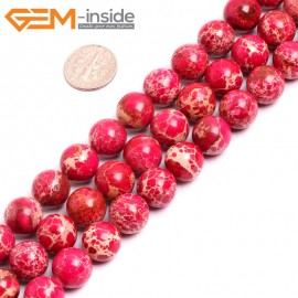 "G15342 12mm Round Dark Red Sea Sediment Jasper Beads Dyed Color 15"" Beads for Jewelry Making Wholesale"