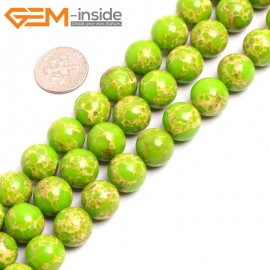 """G15343 12mm Round Apple Green Sea Sediment Jasper Beads Dyed Color 15"""" Beads for Jewelry Making Wholesale"""