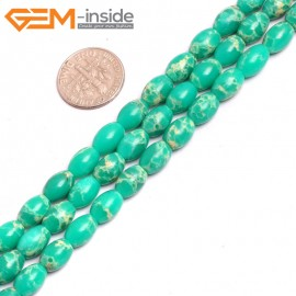"""G15360 6x9mm Rice Light Green Sea Sediment Jasper Beads Dyed Color 15"""" Beads for Jewelry Making Wholesale"""