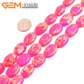 """G15370 13x18mm Oval Pink Sea Sediment Jasper Beads Dyed Color 15"""" Beads for Jewelry Making Wholesale"""