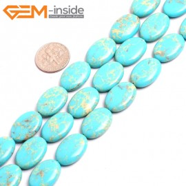 """G15375 13x18mm Oval Turquoise Blue Sea Sediment Jasper Beads Dyed Color 15"""" Beads for Jewelry Making Wholesale"""